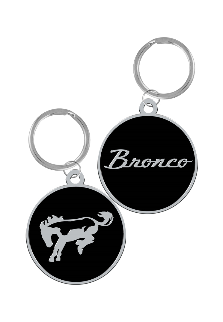 Graphics and More Ford Bronco Chrome Logo Rectangle Chrome Plated Metal Keychain Key Chain